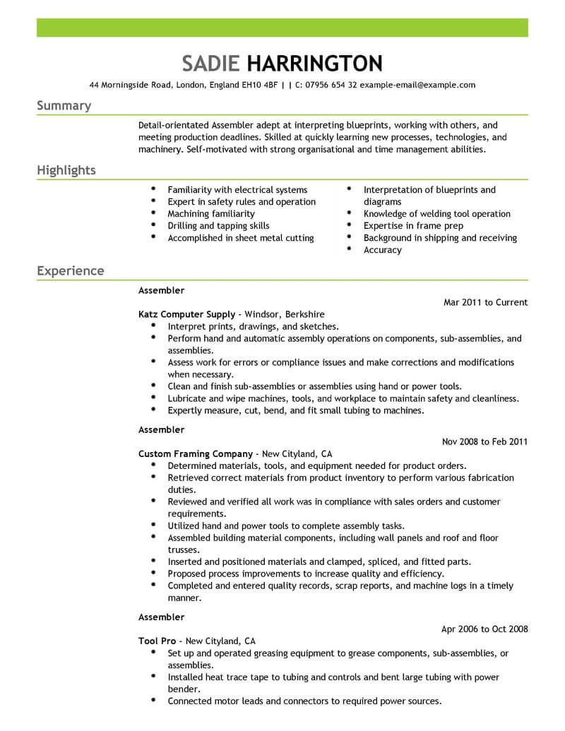 professional assembler resume examples production livecareer assembly line worker sample Resume Assembly Line Worker Resume Sample