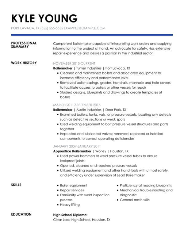 professional banking resume examples livecareer template insightful chrono boilermaker Resume Professional Banking Resume Template