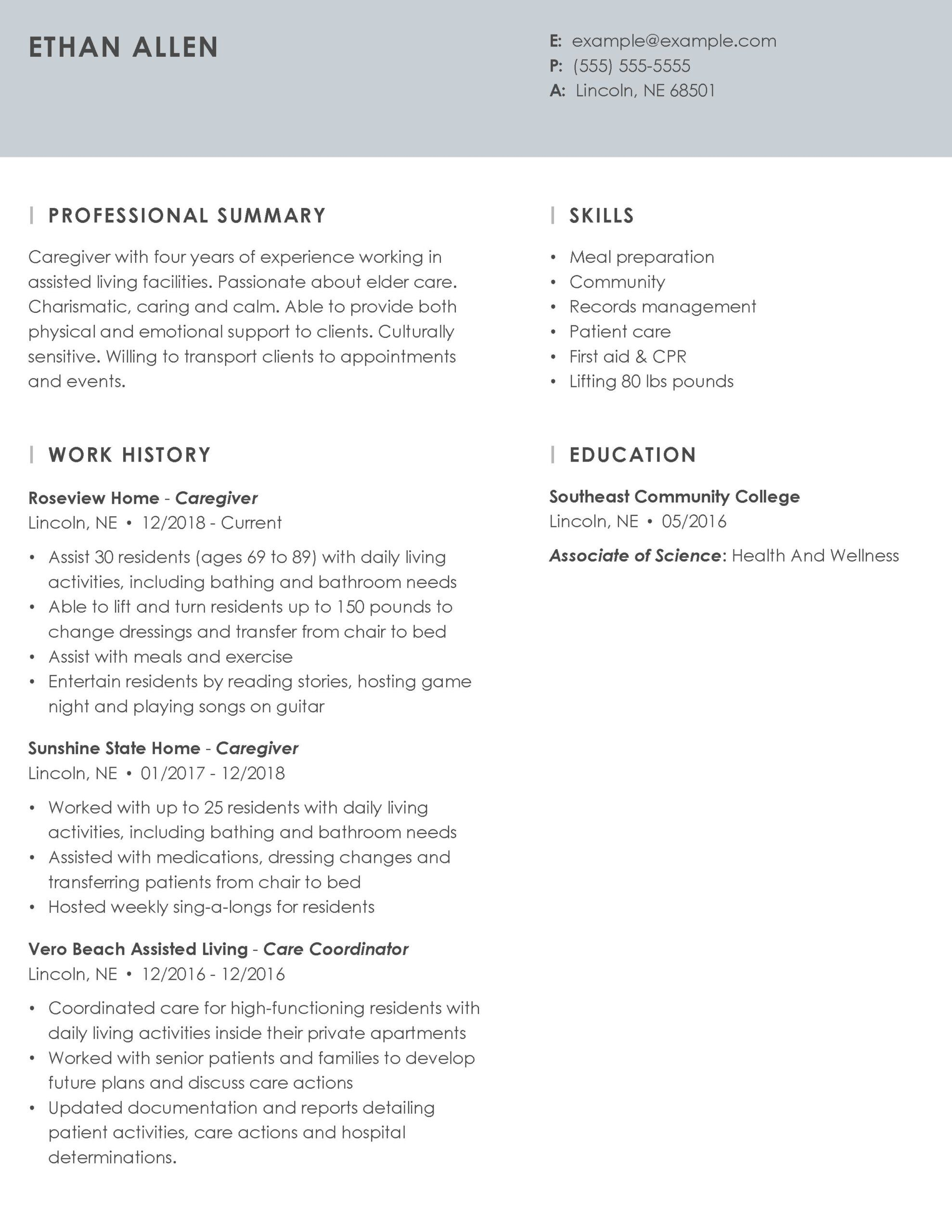 professional caregiver resume example tips myperfectresume personal characteristics Resume Personal Characteristics Examples For Resume