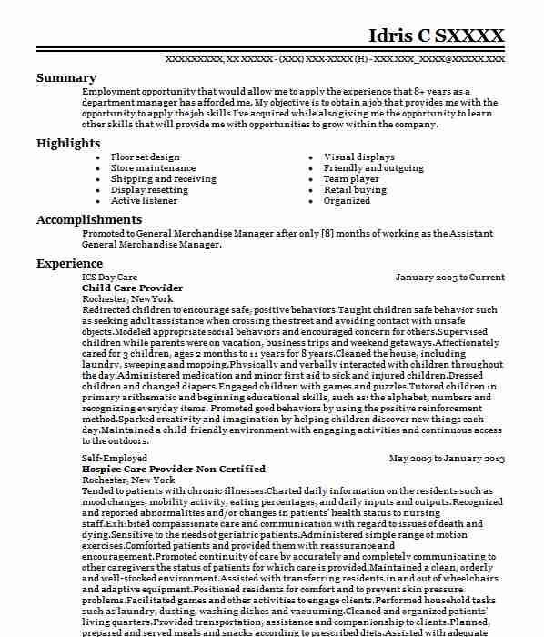 professional child care provider resume examples childcare livecareer sample construction Resume Child Care Provider Resume Sample