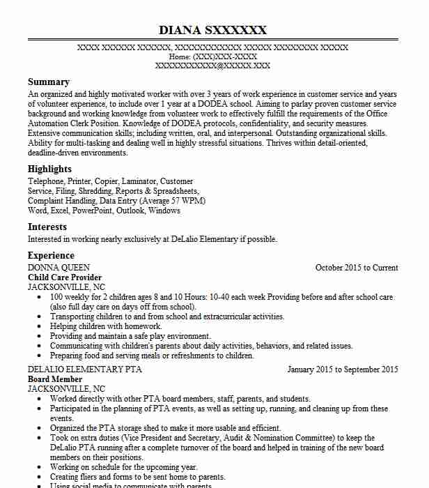 professional child care provider resume examples childcare livecareer sample military Resume Child Care Provider Resume Sample