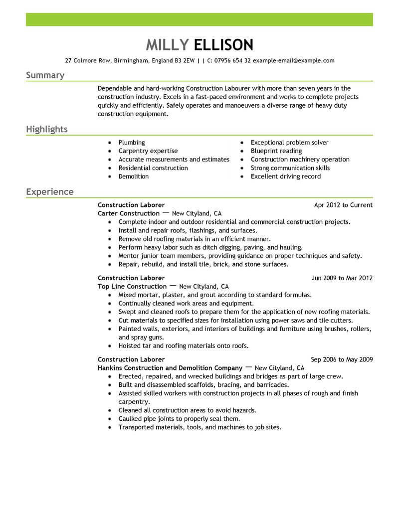 professional construction worker resume examples livecareer experience labor emphasis the Resume Construction Experience Resume