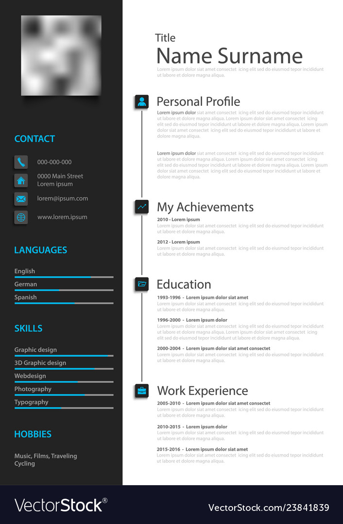 professional creative personal resume cv in black vector image and outline word document Resume Creative And Professional Resume
