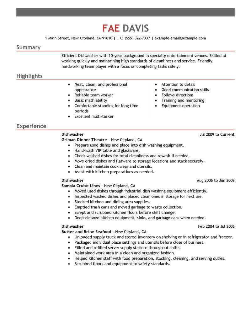 professional dishwasher resume examples culinary livecareer kitchen responsibilities Resume Kitchen Hand Responsibilities Resume