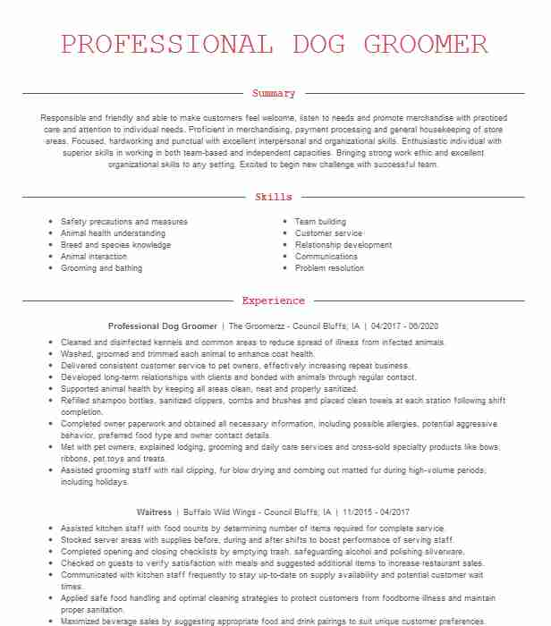 professional dog groomer resume example all about dogs cats cover letter title for fresh Resume Dog Groomer Resume Cover Letter