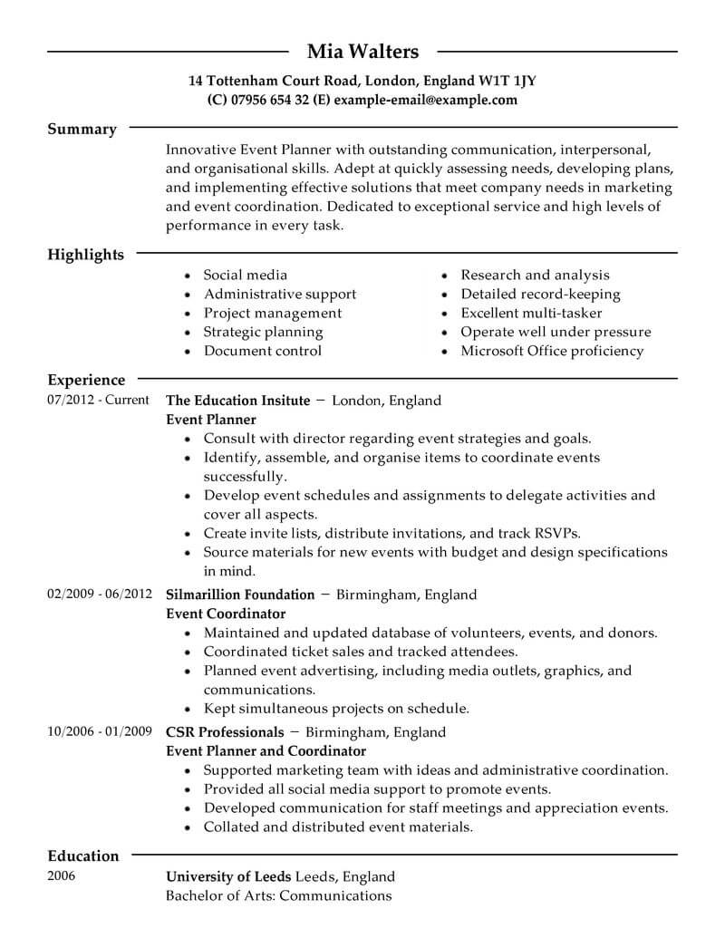 professional event planner resume examples livecareer wedding objective marketing modern Resume Wedding Planner Resume Objective