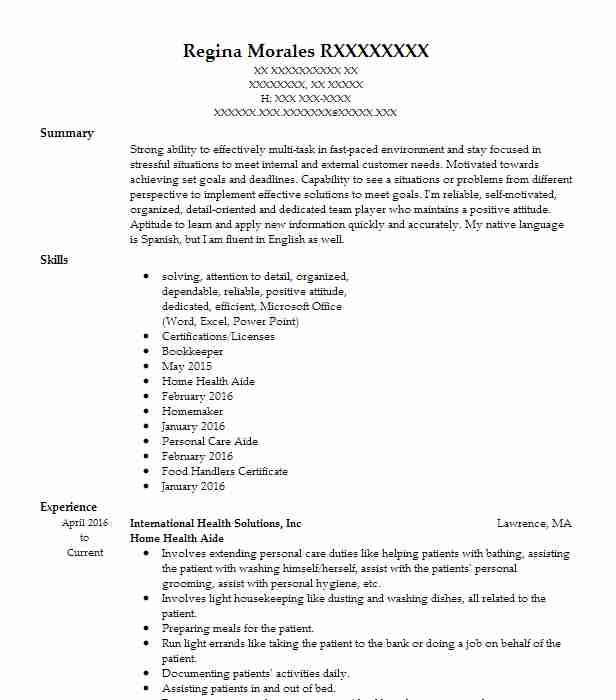 professional home health aide resume examples healthcare support livecareer care parser Resume Home Health Care Resume