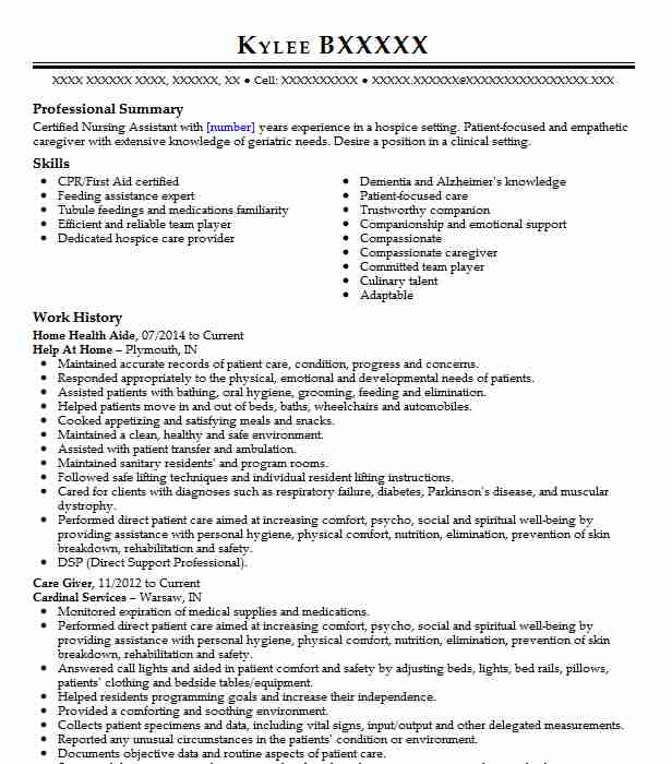 professional home health aide resume examples healthcare support livecareer care sample Resume Home Health Care Resume