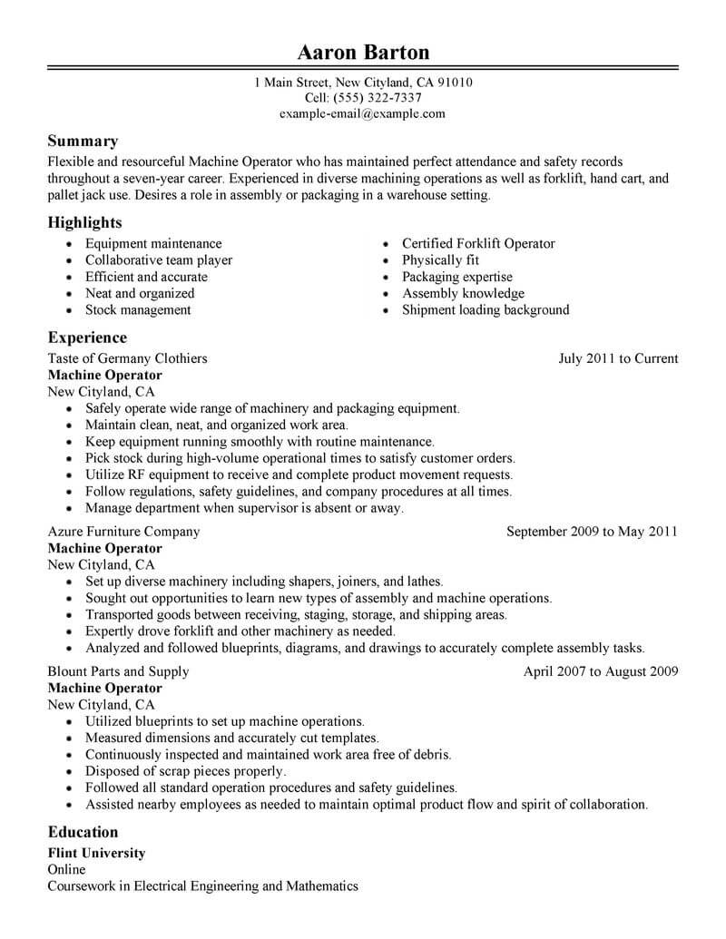 professional machine operator resume examples production livecareer summary for classic Resume Machine Operator Summary For Resume
