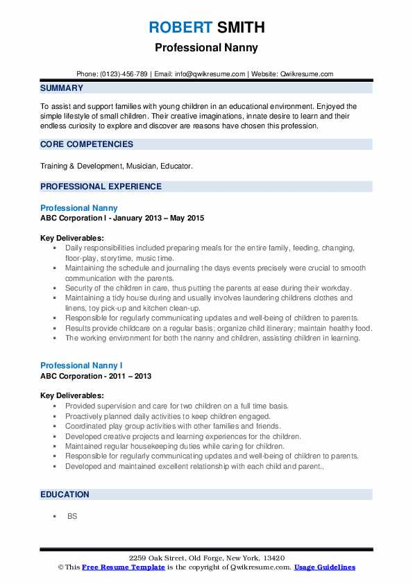 professional nanny resume samples qwikresume duties for pdf aflac database job examples Resume Nanny Duties For Resume
