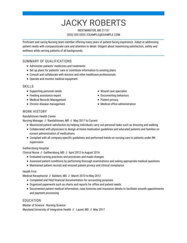 professional nursing resume examples livecareer functional for nurses manager hospice Resume Functional Resume For Nurses