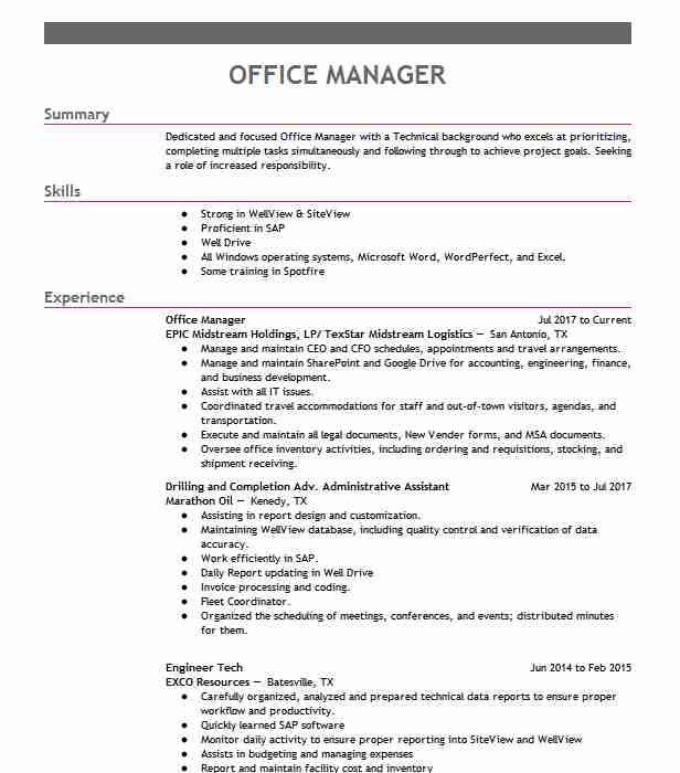 professional office manager resume examples administrative livecareer chip kelly making Resume Office Manager Resume Examples 2019