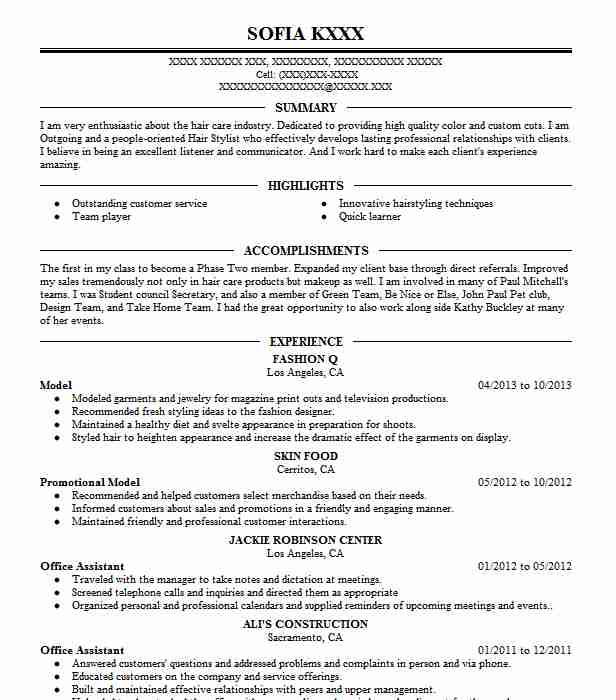 professional resume examples livecareer fashion model administrative receptionist Resume Fashion Model Resume Examples
