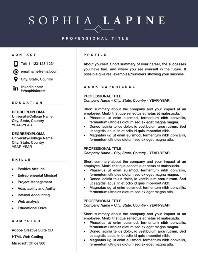 professional resume template design editable for office admin or marketing executive with Resume Executive Resume Template Word