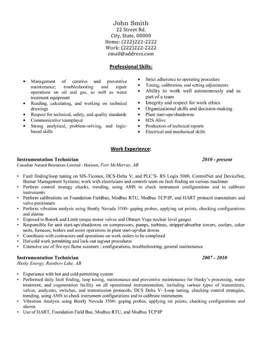 professional resume template for an instrumentation technician want it downloa Resume Electrical And Instrumentation Supervisor Resume