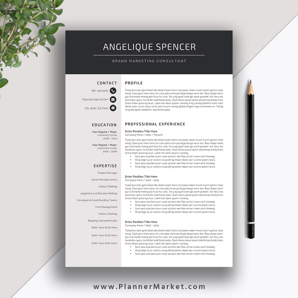 professional resume template for ms word cv creative modern design cover letter the Resume Creative And Professional Resume