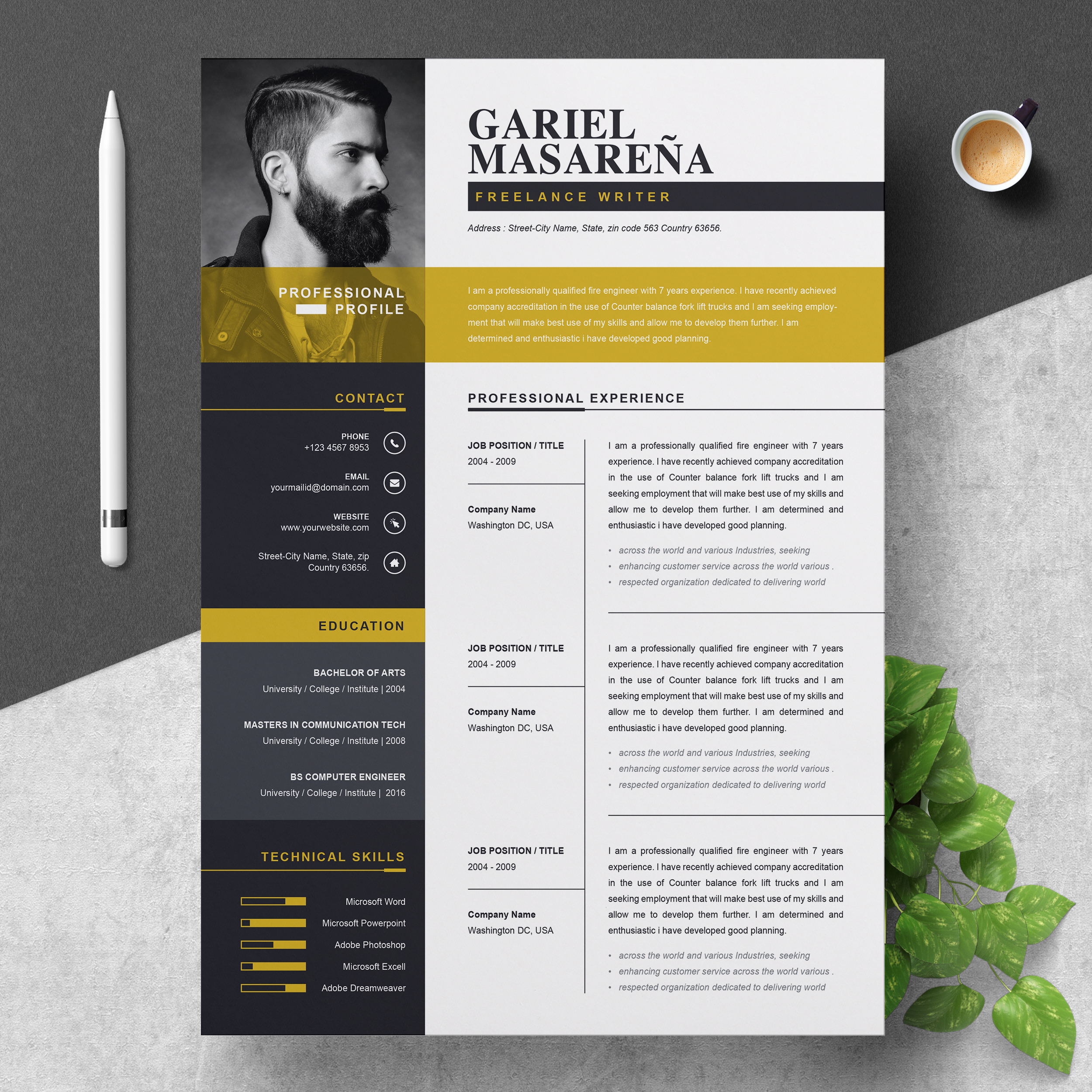 professional resume template for word cv cover letter resumeinventor creative and clean Resume Creative And Professional Resume