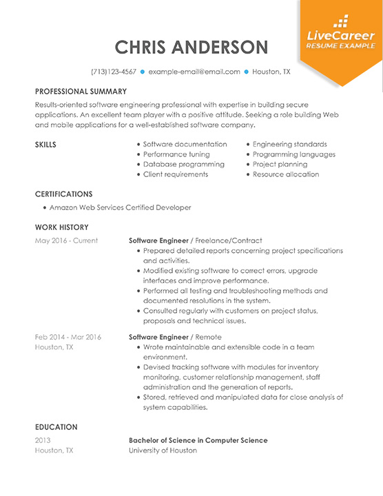 professional software engineer resume examples computer livecareer format for example Resume Resume Format For Software Engineer