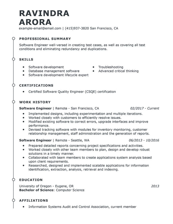 professional software engineer resume examples computer livecareer sample for fresh Resume Business Intelligence Resume Keywords