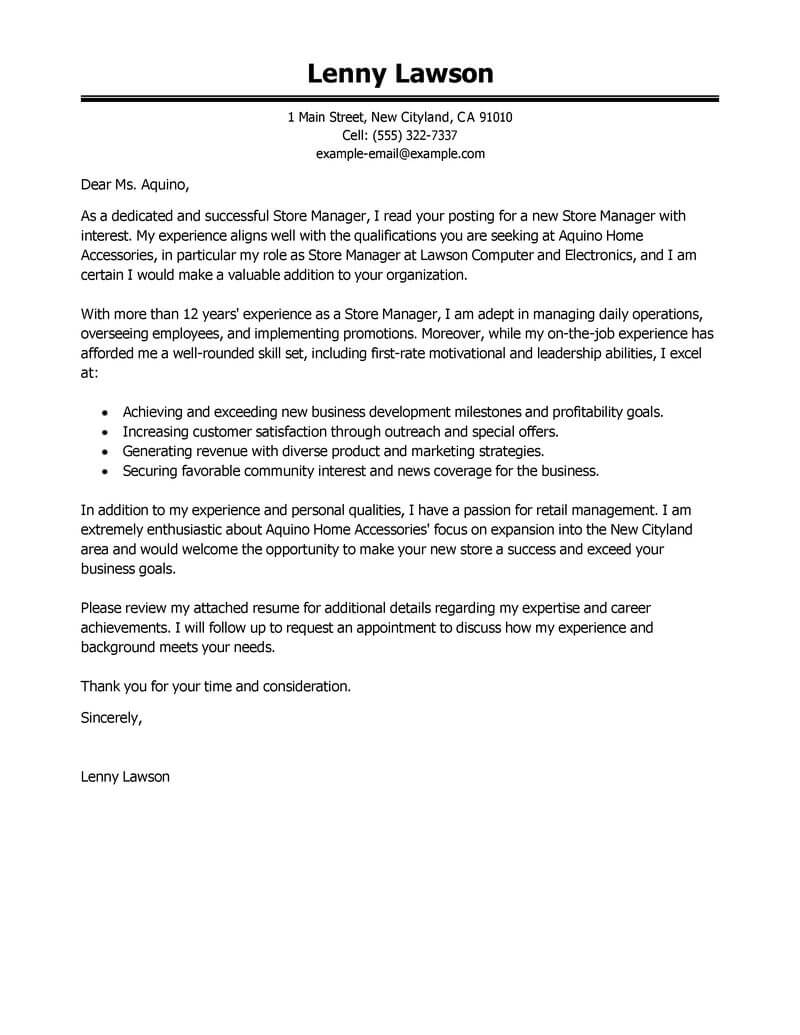 professional store manager cover letter examples livecareer best books for resume and Resume Best Books For Resume And Cover Letter Writing