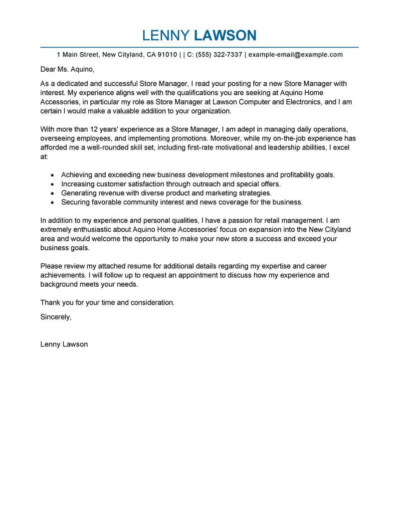 professional store manager cover letter examples livecareer personal characteristics for Resume Personal Characteristics Examples For Resume