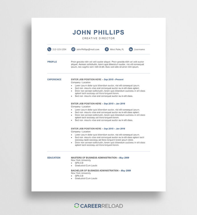 professional word resume template career reload contemporary templates free john Resume Contemporary Resume Templates Free Word