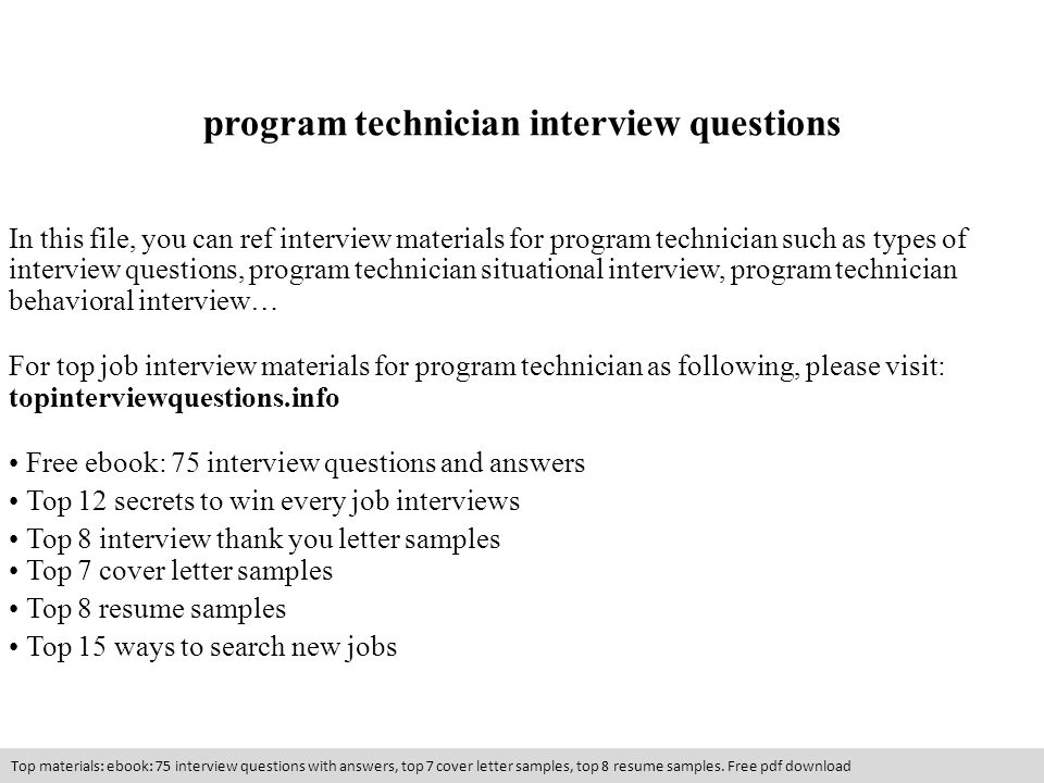 program technician interview questions resume slide best examples warehouse supervisor Resume Resume Interview Questions