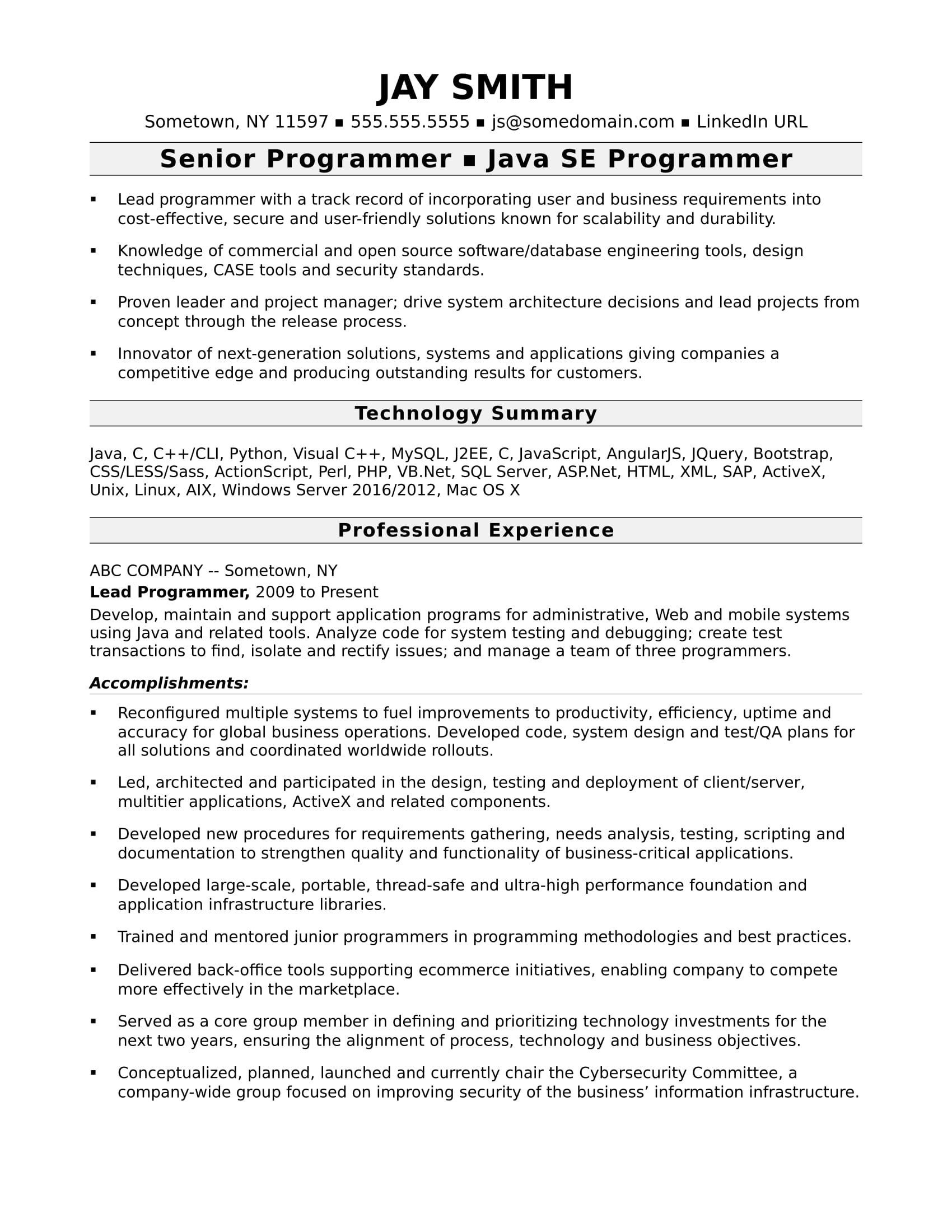 programmer resume template monster work experience examples computer experienced Resume Resume Work Experience Examples
