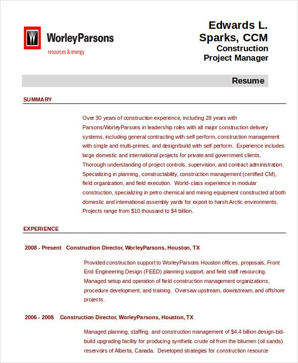 project management resume example free word pdf documents premium templates construction Resume Construction Project Manager Resume Examples