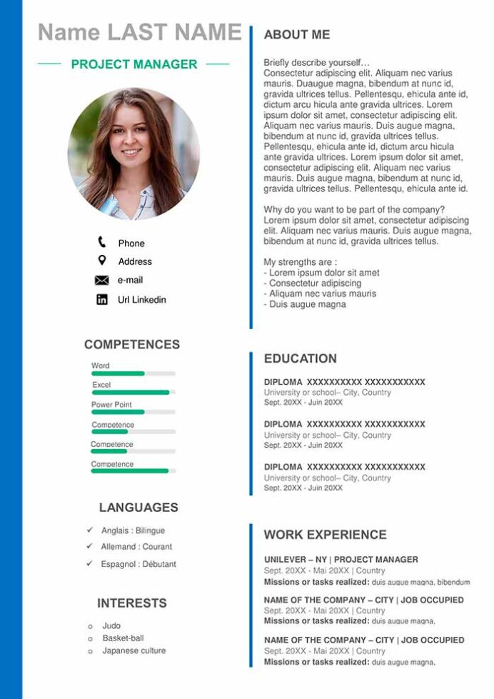 project manager resume template for word free cv format excel wgu cna without experience Resume Resume Format Excel Download