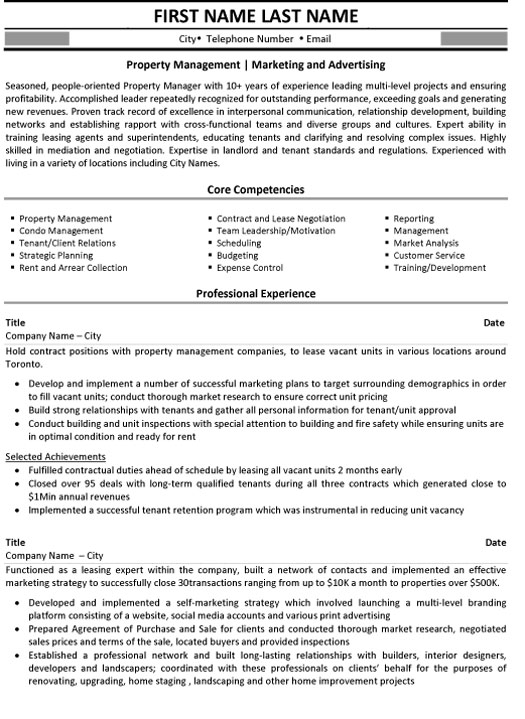 property management resume sample template manager marketing and advertising best format Resume Property Manager Resume Sample