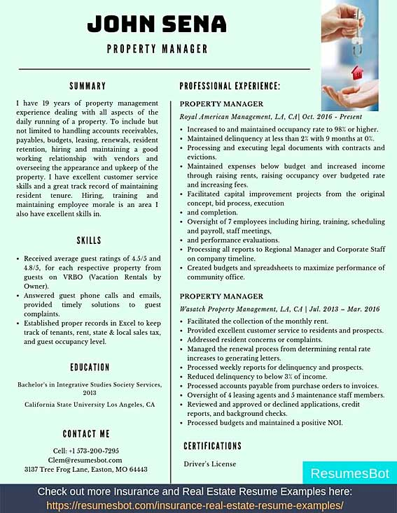property manager resume samples templates pdf resumes bot sample example high school Resume Property Manager Resume Sample