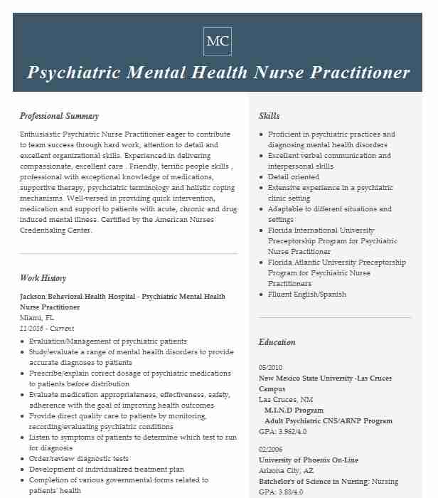 psychiatric mental health charge nurse resume example crest hospital rtc temple Resume Psychiatric Nurse Practitioner Resume Sample