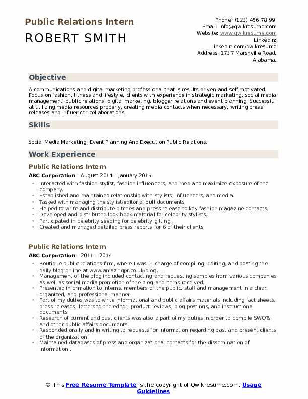 public relations intern resume samples qwikresume student pdf entry level high school Resume Public Relations Student Resume