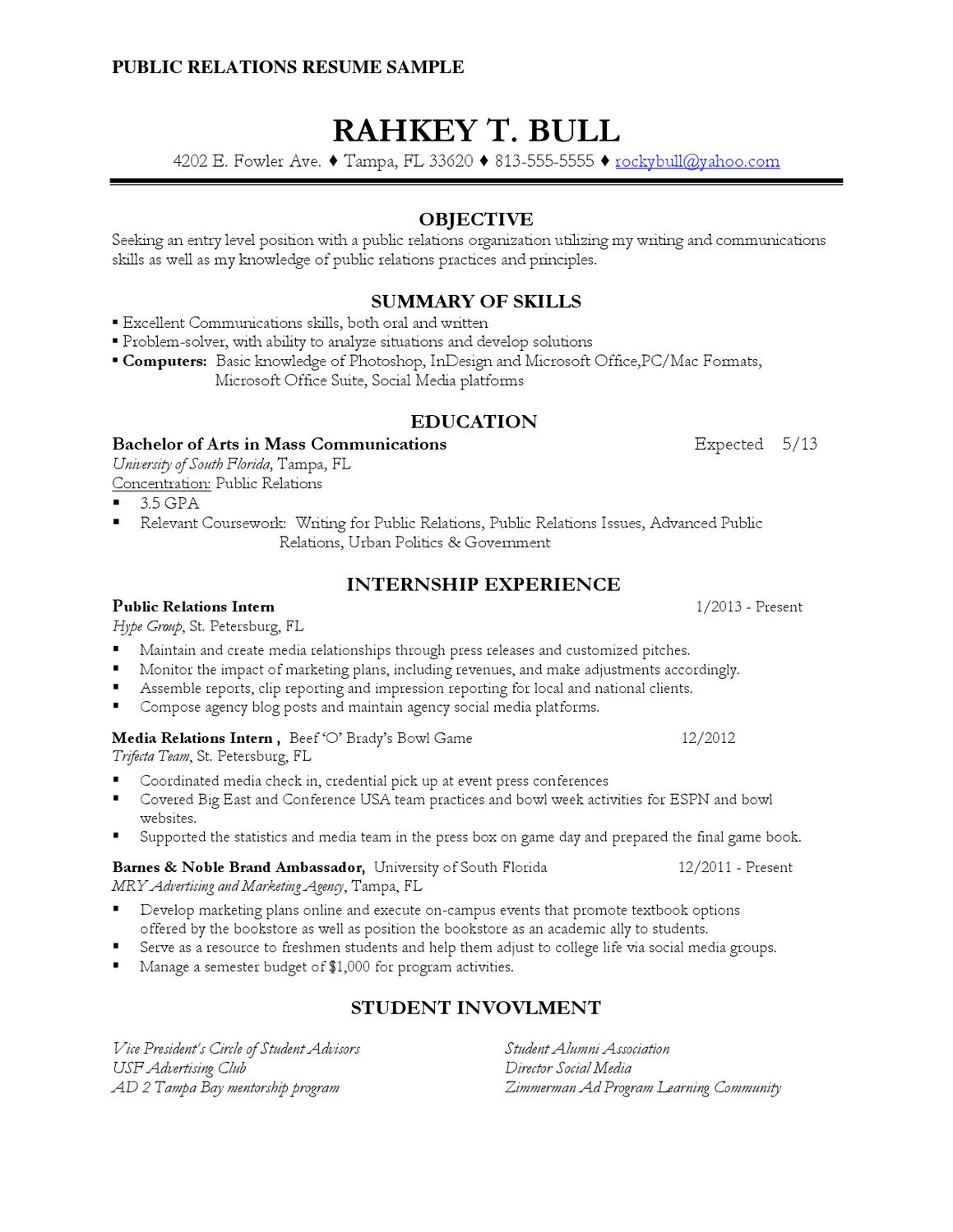 public relations resume sample by rosaria pipitone issuu student drummer samples building Resume Public Relations Student Resume
