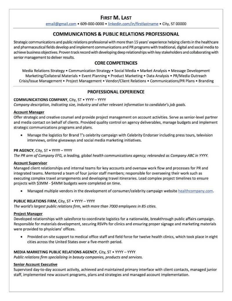 public relations resume sample professional examples topresume communications director Resume Communications Director Resume