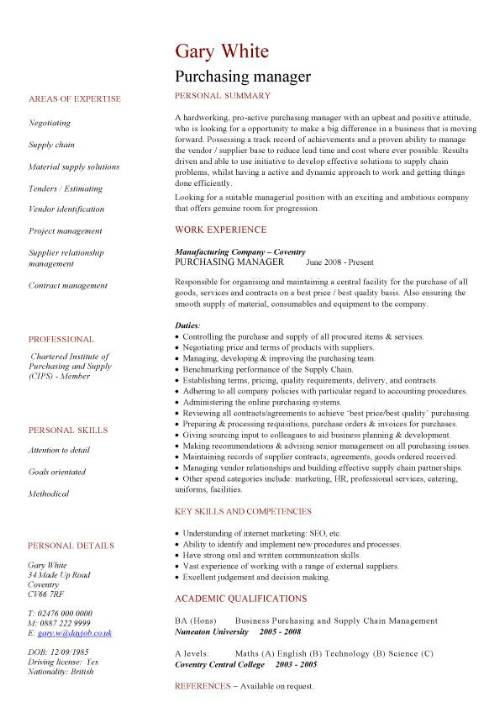 purchasing manager cv sample resume format for procurement pic template programme marine Resume Resume Format For Procurement Manager