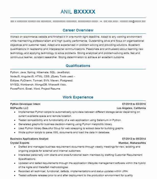 python developer intern resume example nike edison new best projects for basic Resume Best Python Projects For Resume