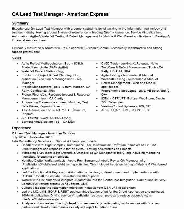qa test manager resume example accenture solutions pvt ltd banking projects for testing Resume Banking Projects For Testing Resume