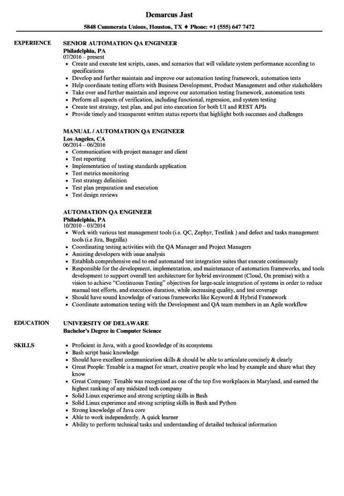 qa tester resume no experience proper automation engineer samples of popular exper Resume Automation Tester Sample Resume