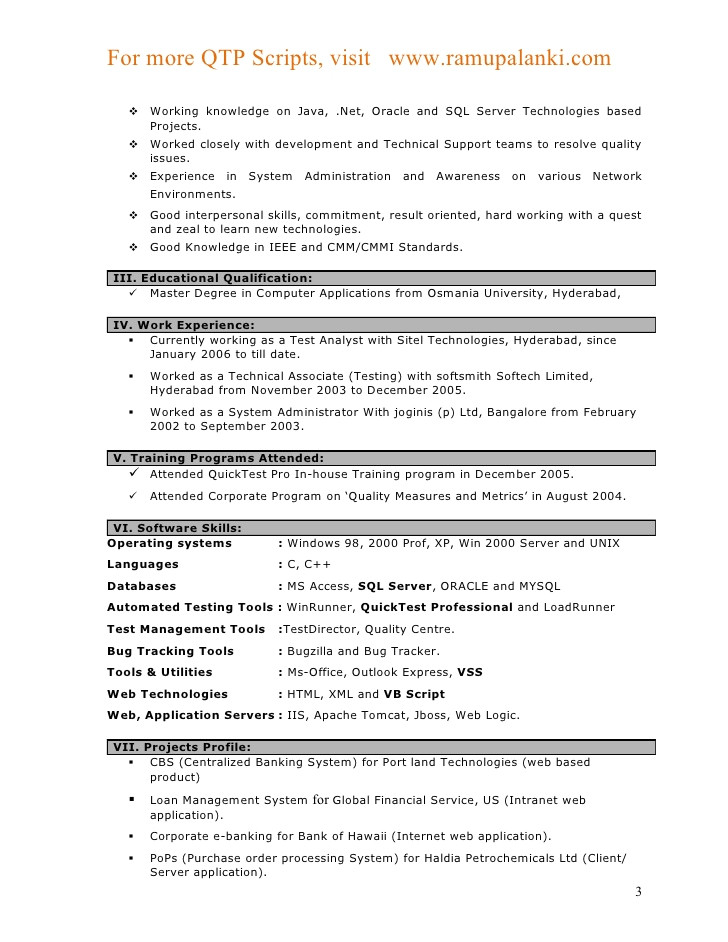 qtp resumes camba banking projects for testing resume sample automation experienced Resume Banking Projects For Testing Resume