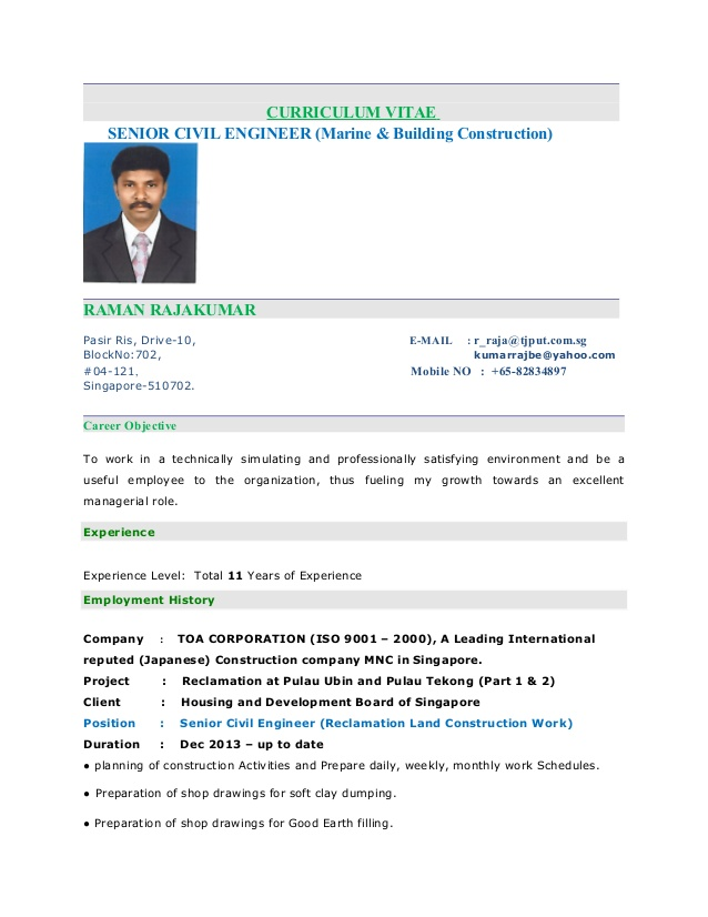 raja kumar resume senior civil engineer of experienced nursing objective new grad travel Resume Resume Of Experienced Civil Engineer