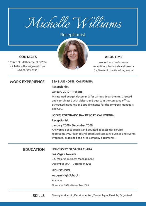 receptionist resume template free word pdf document premium templates examples position Resume Resume Examples Receptionist Position