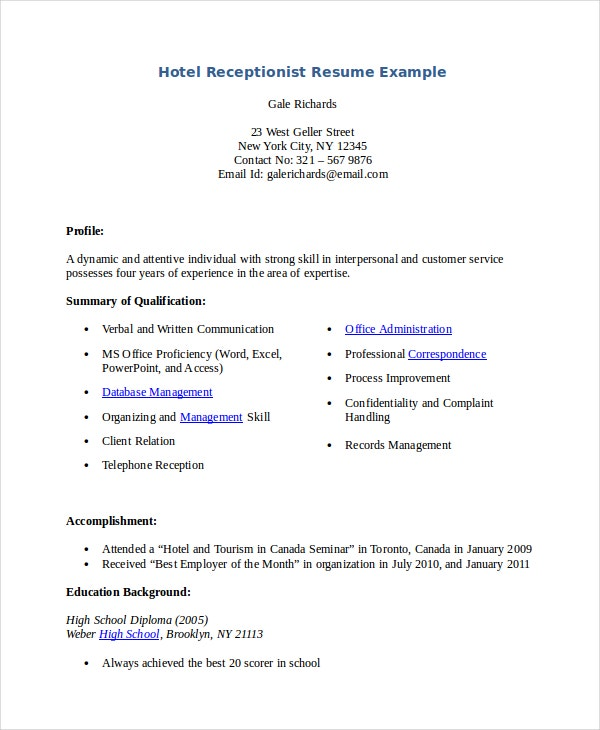 receptionist resume template free word pdf document premium templates front office Resume Front Office Executive Resume Download