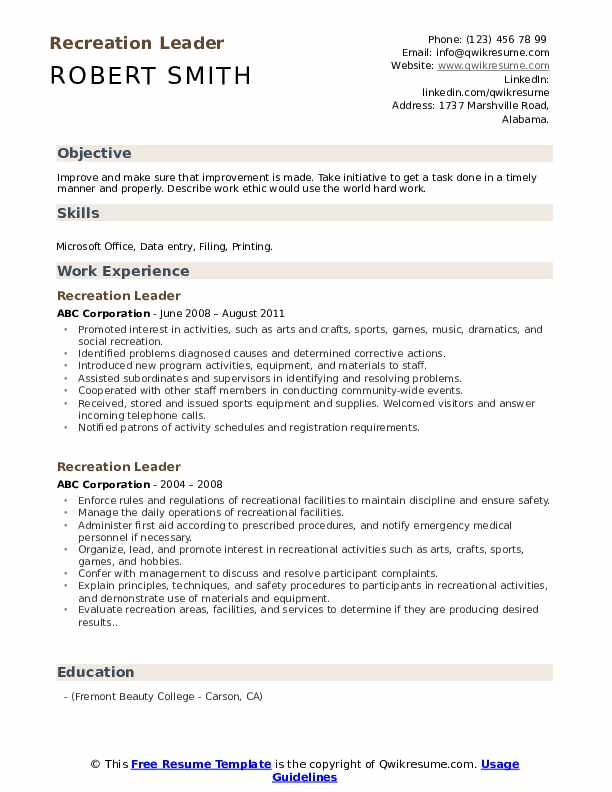 recreation leader resume samples qwikresume initiative skills examples pdf ap sample Resume Initiative Skills Resume Examples