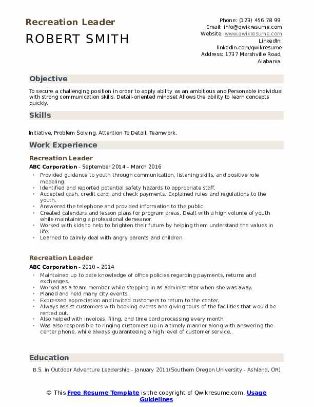 recreation leader resume samples qwikresume initiative skills examples pdf new grad Resume Initiative Skills Resume Examples