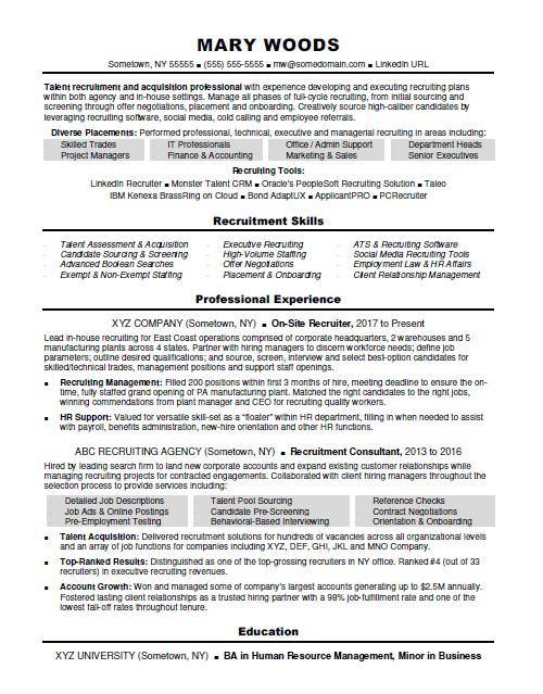 recruiter resume sample monster talent acquisition coordinator best high school examples Resume Talent Acquisition Coordinator Resume