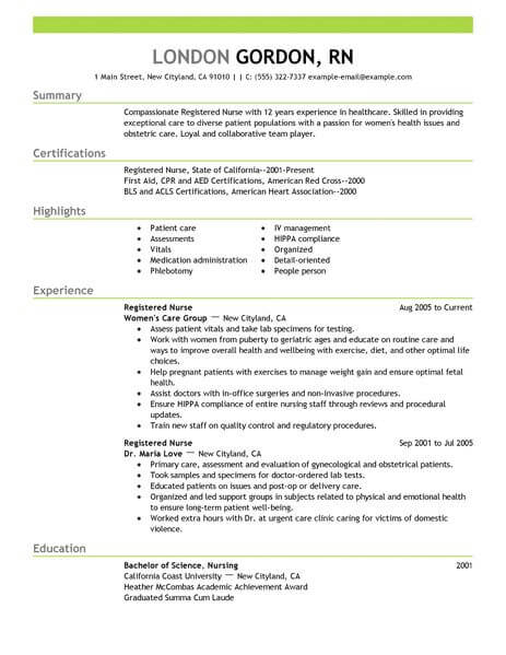 registered nurse resume template for microsoft word livecareer rn free healthcare example Resume Rn Resume Template Free