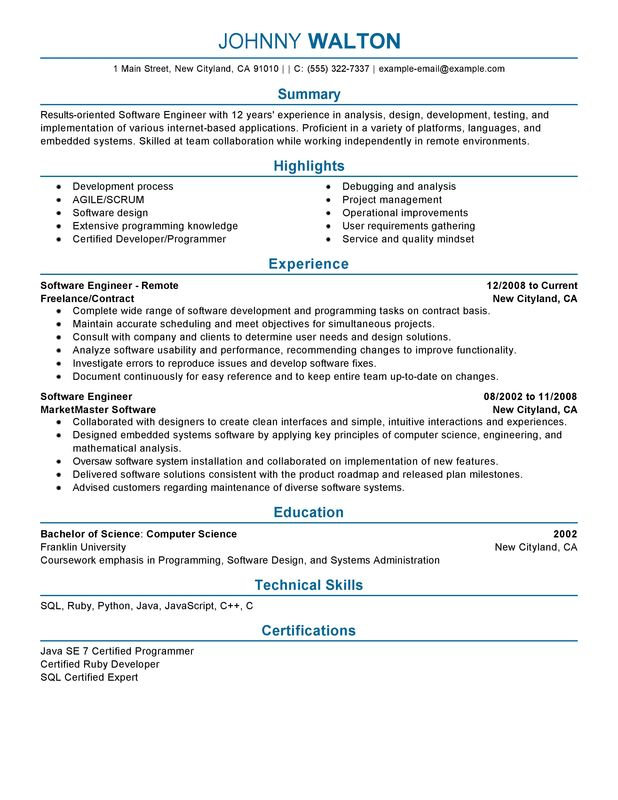 remote software engineer resume examples free to try today myperfectresume computers and Resume Software Engineer Resume
