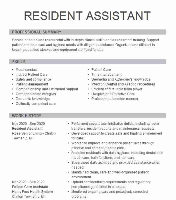 resident assistant resume example private home care vicksburg cvs printing thank you Resume Resident Assistant Resume